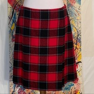 Talbots red, black and white plaid wrapped skirt.